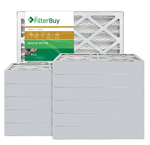 AFB Gold MERV 11 16x20x4 Pleated AC Furnace Air Filter. Pack of 12 Filters. 100% produced in the USA.