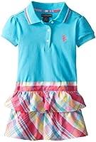 U.S. POLO ASSN. Little Girls' Pique Polo Top and Plaid Bottom Dress