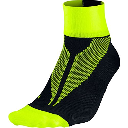 Nike Elite Hyper-Lite Quarter Running Socks - Black/Volt SX4