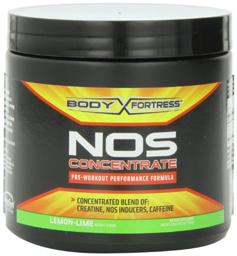 Body Fortress Nos Concentrate Nutrition Beverages, Lemon-Lime, 250 Gram