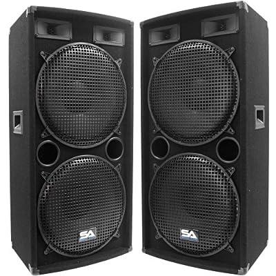 "Seismic Audio - Pair of Dual 15"" PA DJ SPEAKERS 1000 Watts PRO AUDIO - Band, Bar, Wedding, Church"