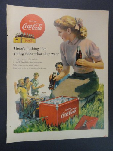 Coca-Cola. 1952 full page print advertisement. (girl handing out cokes at picnic/from old coca-cola red cooler/wooden case of coca-cola.) original vintage magazine Print Art.