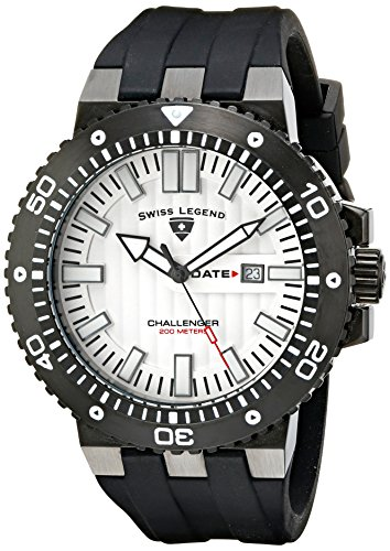 SWISS LEGEND Challenger 10126-BB-02S 50 Stainless Steel Case Rubber Anti-Reflective Sapphire Men's Quartz Watch