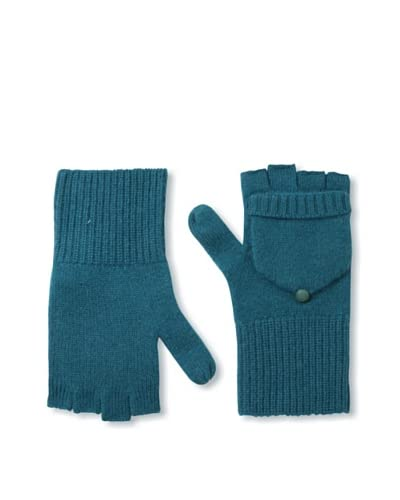Qi Cashmere Women's Lillian Pop Top Cashmere Mittens  [Emerald Green]