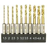 E-Value 六角軸 鉄工用ドリルセット ショート チタンコーティング 10本組 ESTDT-10HEX