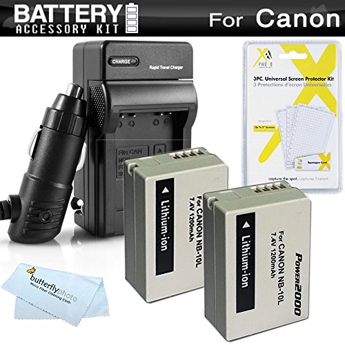 2 Pack Battery And Charger Kit For Canon PowerShot SX40 HS SX40HS, SX50 HS, SX50HS, PowerShot G15, PowerShot G16, G1 X G1X Digital Camera Includes 2 Extended Replacement (1200Mah) NB-10L Batteries + AC/DC Travel Charger + LCD Screen Protectors + More (Cameras Sx 50 compare prices)