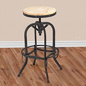 Vintage Bar Stool Industrial Metal Design Wood Top Adjustable Height Swivel by BestChoiceproducts