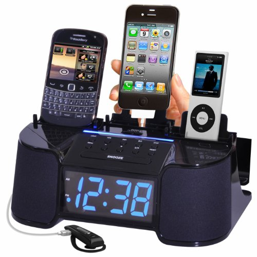 DOK 4 Port Smart Phone Charger with Alarm, Clock and FM Radio (Black)
