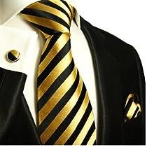 Paul Malone Necktie, Pocket Square and Cufflinks 100% Silk Gold Black Stripes