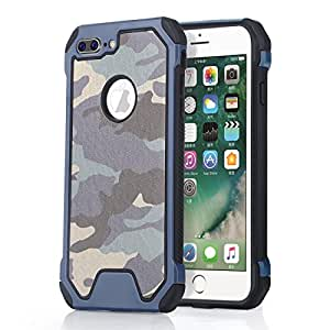 Onetop,for iphone 7 Plus Case,Impact Resistant[Anti Shock] PU Leather Double Combination Bumper Shield[Camo Series] for Iphone 7 P Case 5.5 inch (Navy Blue)