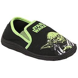 Boys\' Star Wars Slippers STARBADGE Black UK 9/US 10