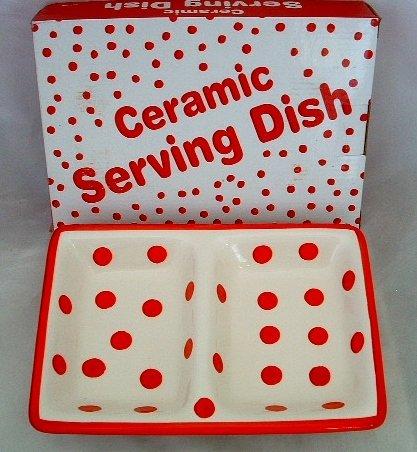 Kole HG157 Sectioned Polka Dot Ceramic Serving Dish, Regular (Polka Dot Cookware compare prices)