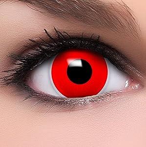 Linsenfinder Farbige Kontaktlinsen rot 'Red Zombie' +Kombilösung +Behälter ohne Stärke rote Fun Crazy Linsen perfekt zu Halloween und Karneval