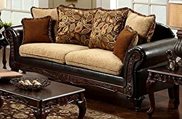 Doncaster Sofa with Pillows in Tan Espresso finish by Furniture of America