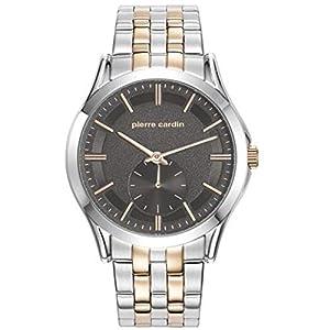 Pierre Cardin Men's 44mm Two Tone Steel Bracelet Steel Case Quartz Grey Dial Analog Watch PC107851F05