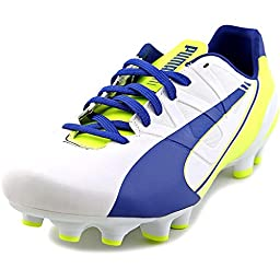 PUMA Women\'s Evo Speed 4.3 Firm Ground Soccer Shoe,White/Snorkel Blue/Fluorescent Yellow,8.5 B US