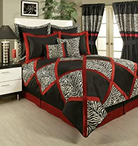 Sherry Kline True Safari 4-Piece Bedding Collection, California King, Black