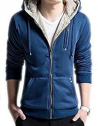 Ubling Men\'s Casual Faux Fur Hoodies Outwear Sweatshirt L Blue