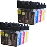 8 CiberDirect High Capacity Compatible Ink Cartridges for use with Brother DCP-195C Printers.