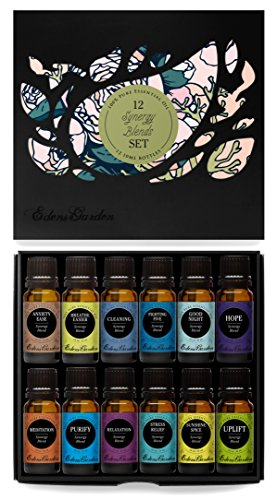 12/ 10 ml Synergy Blends 100% Pure & Natural Aromatherapy Therapeutic Grade Essential Oils- (Anxiety Ease, Breathe Easier, Cleaning, Fighting Five (previously known as Four Thieves), Good Night, Hope, Meditation, Purify, Relaxation, Stress Relief, Sunshin