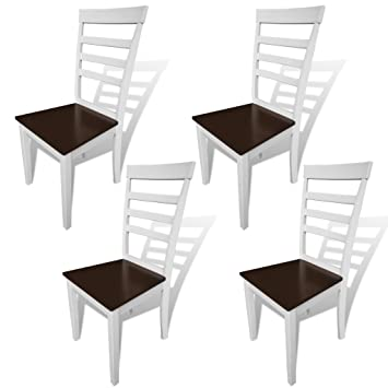 vidaXL Silla de comedor madera maciza, 4 unidades, blancas y marrones
