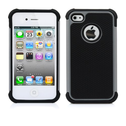 iPhone 4S Case, MagicMobile® Rugged Durable Impact Resistant Shockproof Double Layer Cover Hard Armor Shield Shell and Soft Flexible Silicone Skin Color: Black – Gray with screen protector, stylus and charm image