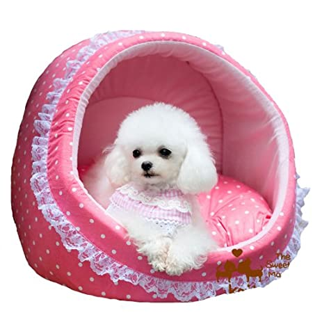 pink dog cave bed