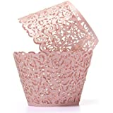 Brotechno 50pcs Filigree Vine Cupcake Wrappers Wraps Cases Wedding Birthday Decorations Flower Vine Filigree Cutout Lace Cupcake Wrapper Wraps Liner Wedding Party Cake Decoration Vine Lace Laser Cut Cupcake Wrapper Liner Baking Cup Muffin Case Trays Wedding Birthday Party Decoration (PINK)