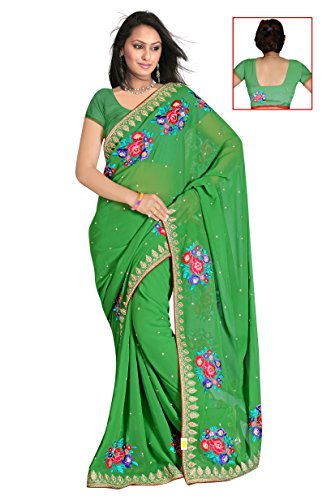 Sehgall Sarees Indian Bollywood Professional Green Fancy Embroidery Georgette Saree