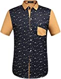 SSLR Men's Printing Pattern Casual Short Sleeve Shirt (Small, Blue (Solid...