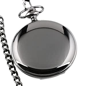 ESS Mens Black Smooth Stainless Steel Case White Arabic Numbers Modern Pocket Watch WP101