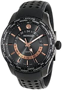 Movado Men's 2600118 Series 800 Black PVD Case Black Calfskin Leather Strap Grey Dial Rose Gold Accents Watch