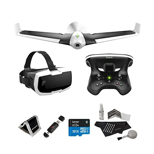 Parrot-DISCO-FPV-with-Skycontroller-Lexar-32GB-Polaroid-Cleaning-Kit-Ritz-Gear-Reader-Writer-Polaroid-Memory-Card-Wallet-and-Accessory-Bundle