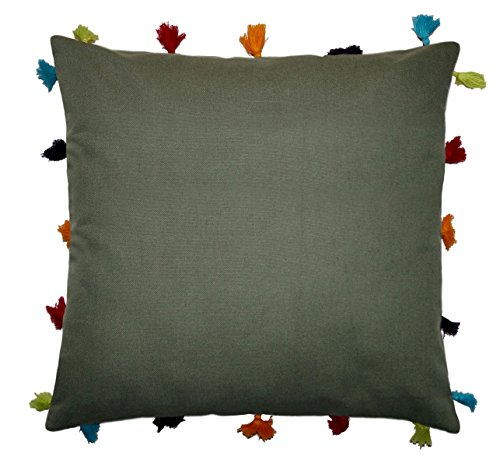 Lushomes Vineyard Green Cotton Cushion Cover with Pom Pom - Pack of 1