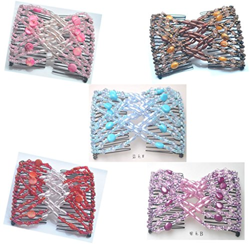 Lovef 5 Pcs Double Magic Hair Combs, Fashion Style Beaded Butterfly Bow Hair Clips, MultiColors 5 Color Mix (Double Comb Hair Clip compare prices)