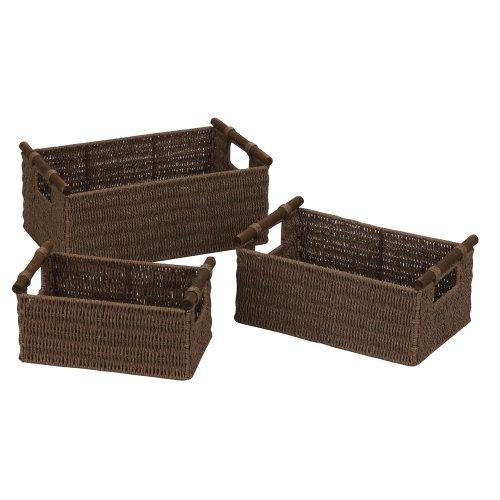 Household Essentials ML-7050 Basket Set, Paper Rope, Wood Handles, Dark Stained, Set of 3
