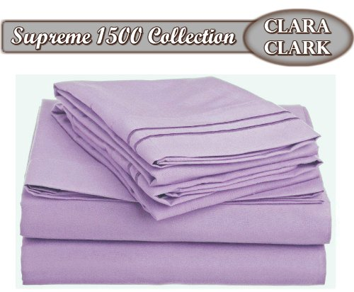 Clara Clark ® Supreme 1500 Collection 4Pc Bed Sheet Set - Queen Size, Lavender front-987183