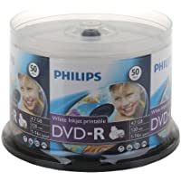Philips Brand 16X White Inkjet Hub Printable Blank DVD-R DVDR Disc Media 4.7GB 50-Pack Cake Box