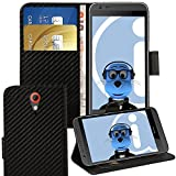 ITALKonline HTC Desire 620 Carbon Fibre Black PU Leather Executive Multi-Function Wallet Case Cover Organiser Flip with Credit / Business Card Money Holder Integrated Horizontal Viewing Stand