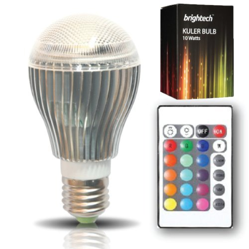 Brightech Kuler Bulb - 10-Watt Color Changing Led Light Bulb With Remote Control - Powered By 3 Vibrant Led'S And 10 Watts Of Power, Its The Brightest Multi Color Led Bulb And Mood Light.