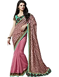 Indian Ethnic Peach Art Silk Saree Sequins Work Fancy Party Wear Sari