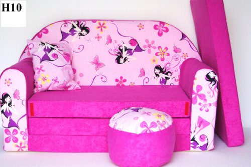 KIDS SOFA BED FUTON CHILDS FURNITURE+FREE POUFFE/FOOTSTOOL & PILLOW (H10)