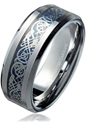 8MM Blue Celtic Dragon Men's / Women's Tungsten Carbide Ring Wedding Band