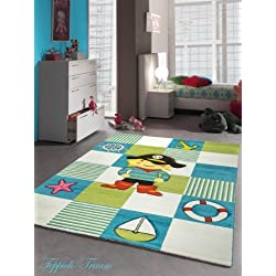 Kinderteppich Spielteppich Kinderzimmer Teppich Pirat Design mit Konturenschnitt Türkis Weiss Grün Rot Schwarz Gelb Pink Größe 160x230 cm