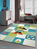 Kinderteppich Spielteppich Kinderzimmer Teppich Pirat Design mit Konturenschnitt Türkis Weiss Grün Rot Schwarz Gelb Pink Größe 80x150 cm