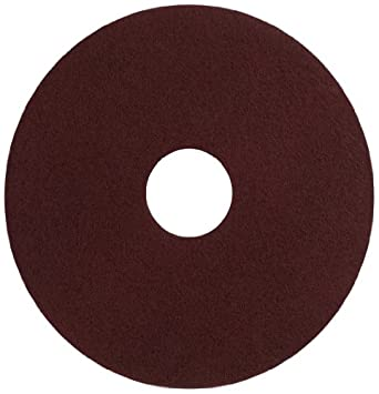 "Glit 11516 TN Polyester Blend Maroon Wood Surfacing Pad, Synthetic Blend Resin, Aluminum Oxide Grit, 16"" Diameter, 175 to 350 rpm (Case of 10)"