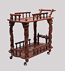 Aarsun Handcrafted Service/ Bar Trolley in Sheesham Wood by Aarsun Woods