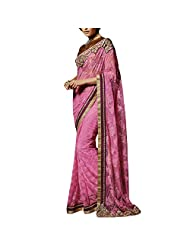 Arabella Couture Khwaab Pink & Golden Saree