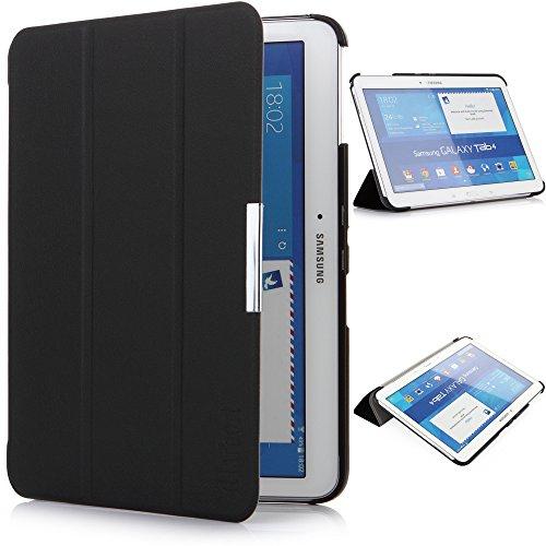 iHarbort® Samsung Galaxy Tab 4 10.1 custodia in pelle, ultra sottile di peso leggero Case Cover custodia in pelle per Samsung Galaxy Tab 4 10.1 pollice T530 T535 Holder, con il sonno / sveglia la funzione (Galaxy Tab 4 10.1, Nero)