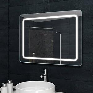 Luxaqua Design Lichtspiegel Badezimmerspiegel LED Beleuchtung mit 1050 Lumen 80 x 60 cm MF6980  BaumarktÜberprüfung und weitere Informationen